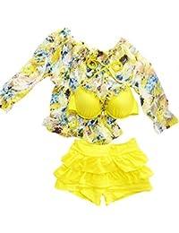 Moollyfox Niñas Bañador de Dos Piezas Tops + Bragas + Blouse Bikini Traje de Baño Tankini de Verano Chicas