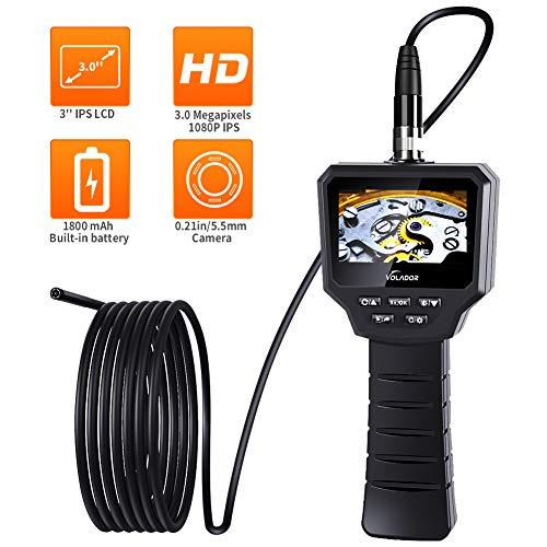 Volador Industrie Inspektionskamera, 3,0 Zoll 3,0 Megapixel 1080P HD IPS Schwer LCD Boreskope, Eingebaute 1800-mAh-Akku Endoskop, 5,5MM IP67 Wasserdichtes 6-LED Video Handheld Endoskopkamera, 3M