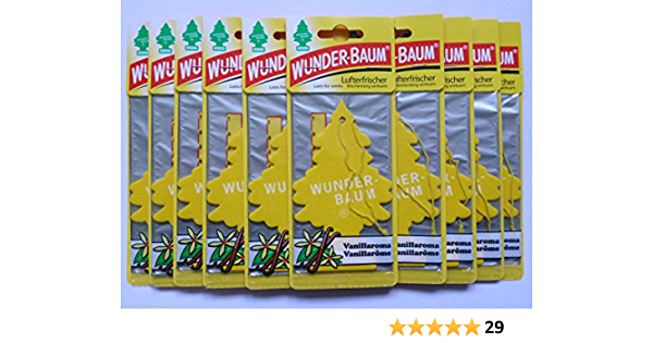 Wunderbaum Vanilla Air Freshener Fragrance Tree Vanilla Aroma Pack Of 10 Large Appliances