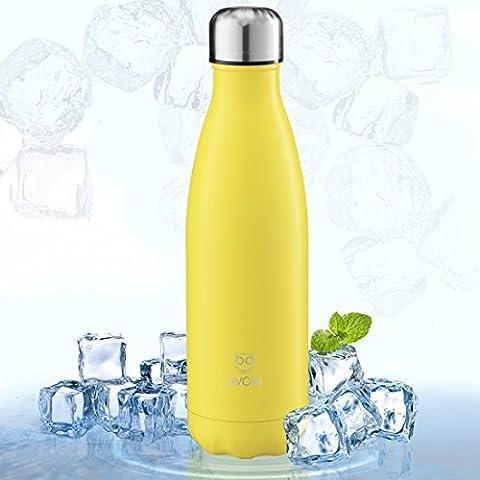 Botella Deportiva de Aluminio Inoxidable y Doble Pared con Aislamiento al Vacío - Color Amarillo