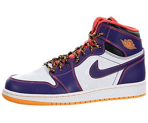 Nike Jungen Air Jordan 1 Retro High BG Basketballschuhe, Violett/Rot/Weiß (Crt Prpl/Brght Crmsn-White-BRG), 38 1/2 EU
