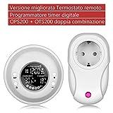 Cronotermostato programmabile UPPEL Termostato Digitale per la temperatura, termostato del termostato con display LCD Modalità di riscaldamento regolabile (Termostati wireless + timer)