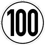 Geschwindigkeitsschild f Kfz z. Angabe km/h in versch. Vers,selbstkl.Folie,20cm Version: 100 - Geschwindigkeit 100