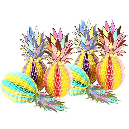 nas, bunte Gewebe Ananas Waben Tisch Partei Liefert Hängende Dekoration für Tropical Luau Hawaiian Thema Hochzeit Wohnkultur Dschungel Partei Liefert Strand Decor (C) ()