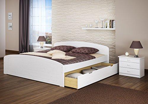 Doppelbett + 3 Bettkasten 200×200 Seniorenbett Ehebett Massivholz Kiefer waschweiß 60.50-20 W oR