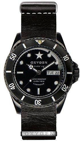 OXYGEN - EX-DV-CAT-42-NL-BL - Montre Mixte - Quartz - Analogique - Aiguilles luminescentes - Bracelet Cuir Noir