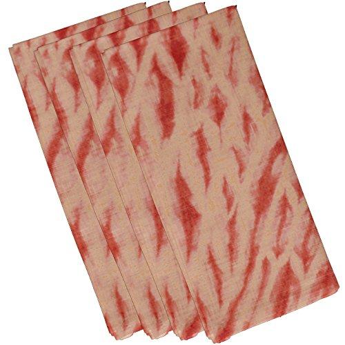 E von Design Shibori Streifen, geometrische Print Serviette, 48,3x 48,3cm Coral (Coral Polyester Servietten)