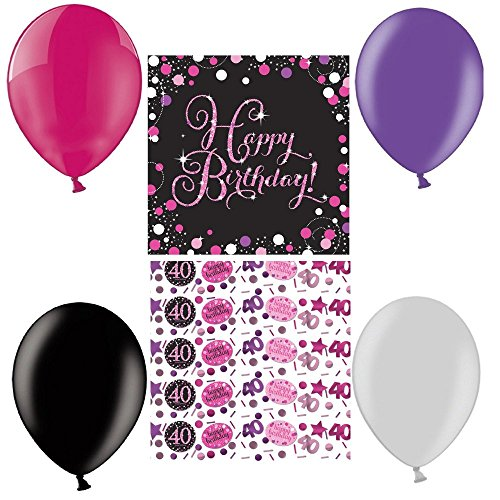 tagsdeko Zum 40. Geburtstag I 21 Teile All-In-On One Set Luftballon Servietten Pink Schwarz Violett Party Deko Happy Birthday ()