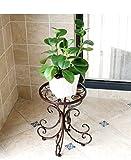 Supporto per fiori, Continental Iron Art Flower stand Single Layer floor-standing manuale making High temperature Paint contenitore balcone soggiorno indoor bonsai pianta in vaso casa staffa, Brown, 24x25x34cm
