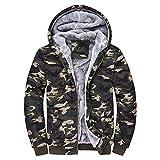 VENMO Herren Camouflage Kapuzenpullover Fleece Zipper Sweater Jacke Outwear Parka Winddicht Mantel Winterjacke Herrenjacke Pilotenjacke Pelzkragen Kapuzenjacke Outdoorjacke Hoodies (Multicolor, L)