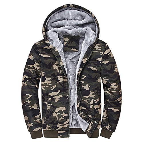 ITISME Herren Pullover Herren Camouflage Hoodie Winter warme Fleece Zipper Sweater Jacke Outwear Mantel (XXXXX-Large, Mehrfarbig) -