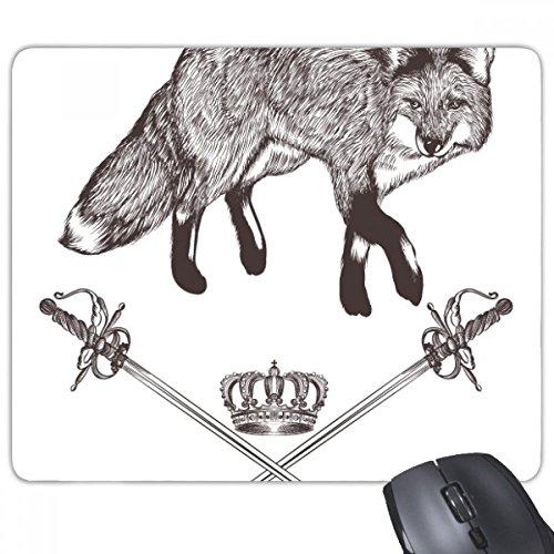 beatChong Fox Schwert Crown Tier Schwarz Weiß Barock Rectangle Griffige Gummi Mousepad Spiel Mauspad Geschenk