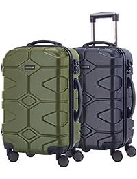 HAUPTSTADTKOFFER - Kotti - Set de 2 Valises bagages à main Trolley 56 x 35 x 21 cm, 4 roues, TSA, Rouge