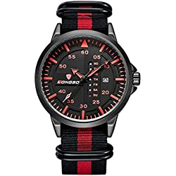 LONGBO Sportive Mens Unique Black & Red Nylon Band Military Big Face Watches Red Index Black Dial Auto Date Wristwatches Decorative Chrono Eyes Waterproof Business Analog Quartz Watch For Man