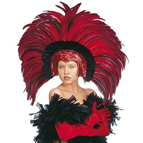 NET TOYS Samba Feder Kopfschmuck Karneval Federschmuck rot Brasilien Federkopfschmuck Rio Kopfbedeckung Sambatänzerin Kostüm Schmuck Showtanz Kopf Accessoire