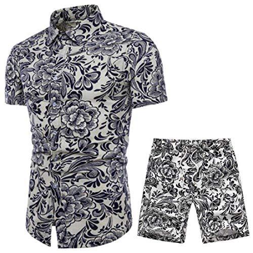 Yisism Herren 2-teiliges Outfits Casual Ethnic Shirt Big & Tall Printed Shorts Trainingsanzug Gr. XS, 8 (Big-und Tall-herren-trainingsanzüge)