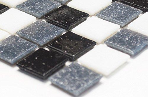 Mosaik-Netzwerk Mosaikfliese Quadrat mix weiß/grau/schwarz Glasmosaik mit Effekt Spots Fliesenspiegel, Mosaikstein Format: 20x20x4 mm, Bogengröße: 327x305 mm, 1 Bogen / Matte (Spot-bogen)