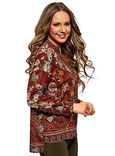 Oodji Collection Mujer Blusa Ancha con Estampado Floral, Rojo, ES 46 / XXL