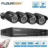 FLOUREON Videoüberwachung 8CH AHD 1080N ONVIF DVR Recorder + 4x 3000TVL 2.0MP 1080P Überwachungskamera CCTV Wasserdicht Sicherheitskamera P2P Bewegungsmelder