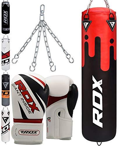 RDX Boxsack Set Gefüllt Kickboxen MMA Muay Thai Boxen mit Stahlkette Training Boxhandschuhe Kampfsport Schwer 4FT 5FT Punching Bag (MEHRWEG) -