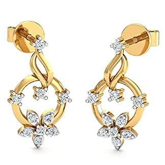 Stylori Tejal Pave 18k Yellow Gold and Diamond Drop Earrings for Women