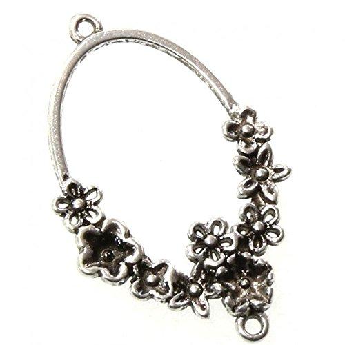 Présentoirs pour Bijoux Accessoires création connecteur Ovale thème Fleuri (5 pièces) Argenté