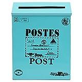 Bluelover-Antique-Vintage-fer-feuille-bote-aux-lettres-Garden-boite-Metal-mural-lettre-journal-Post-Box-bleu