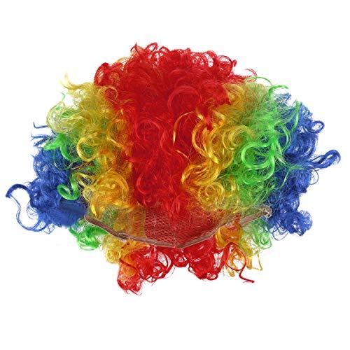 BESTOYARD Bunte Clown Perücke Regenbogen Afro Perücke Lustige Party Clown Kostüm für Maskerade Karneval Cosplay