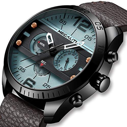 Herren Uhr Männer Militär Chronographen Wasserdicht Sport Große Designer Braun Leder Armbanduhren Mann Business Modisch Datum Grau Analoge Uhren