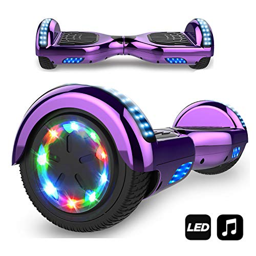 MARKBOARD Hover Scooter Board, Elektro Scooter 6,5 LED E-Balance E-Skateboard Elektroroller Bluetooth LED (LED LILA)