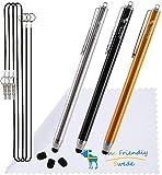[3 Stück] The Friendly Swede Touchscreen-Eingabestift Stylus mit dünner Spitze, 3x Ersatzspitzen, 2x Anhängern und Reinigungstuch