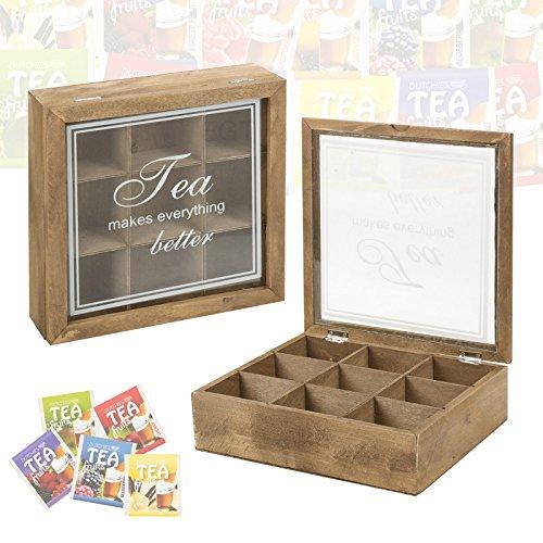 De madera caja de té 9compartimentos con tapa de cristal