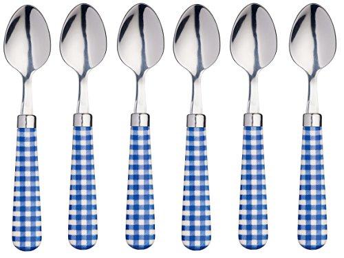 Kitchencraft coloured gingham-patterned cucchiaini, 15.5cm (15,2cm), set da 6pezzi, in acciaio inox, blu, 15.5x 3x 2cm