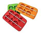 Ghiaccioli Mold Maker set, Ice pop stampi set, approvato dalla FDA riutilizzabile Ice Cream DIY stampi supporti con vassoio e bastoni Popsicles Maker divertimento per bambini e adulti, facile da usare, ottimo regalo per festa da interni ed esterni Orange-2