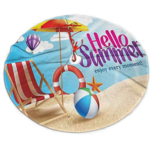 ghkfgkfgk Christmas Tree Skirt Hello Summer Enjoy Every Moment Quote with Sandy Beach Umbrella Holiday Design 36 Inches Circular Mat for Christmas Holiday Party Xmas Decorations