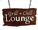 osters muschel-sammler-shop verrostetes Garten-Metallschild zum Hängen Grill & Chill Lounge - ulkig und originell zum aufhängen an Ketten - das Schild für den Garten -
