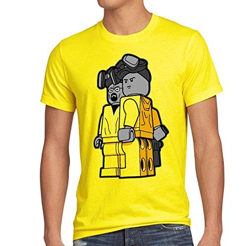 style3 Brick Bad T-Shirt Herren white meth walter crystal breaking tv serie, Größe:XL;Farbe:Gelb