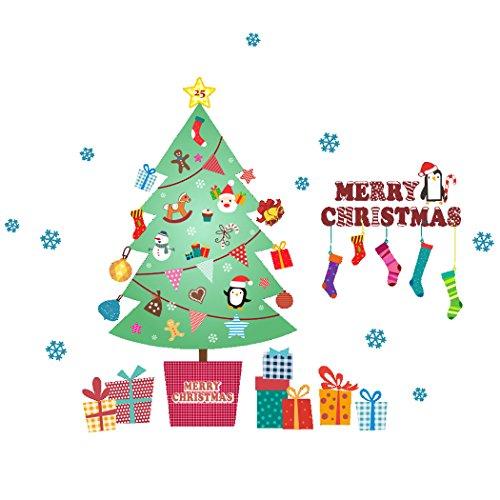 eber, Funpa Wand Schablone Frohe Weihnacht Zeichen Weihnachtsbaum Wandabziehbild für Kinderzimmer Dekor (Frohe Zeichen)