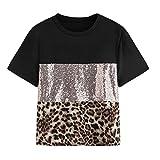 iHENGH Damen Sommer Top Bluse Bequem Lässig Mode T-Shirt Blusen Frauen Fashion Womens Pacthwork Leopardenmuster Pailletten Ärmel T-Shirt Lässige Bluse Top(Schwarz, XL)