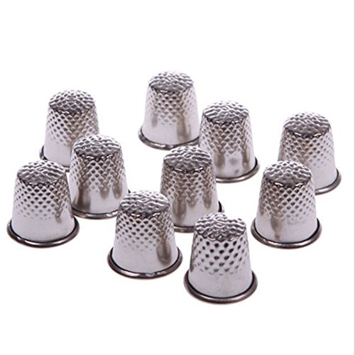 alohha Vintage Metall Sewing Tailor Fingerschutz Fingerhüte Shield Pin Nadel Grip silber Nähmaschine Handworking DIY Craft Tools 12 x 13 mm 10 Stück