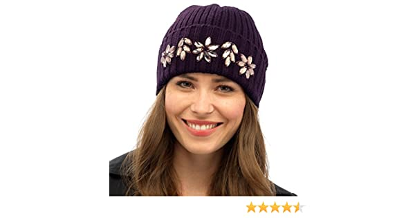 Ladies Rib Knit Embellished Beanie Hat With Flower Gems Winter Accessory  Plum  Amazon.co.uk  Clothing 2cdfb9b6de9d