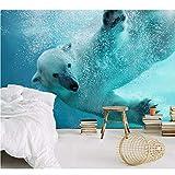 Qwerlp Moderne Naked Underwater Eisbär 3D Wallpaper Wandbilder Für Kinderzimmer 3D Fototapete Für Tv Hintergrund Wand-360Cmx270Cm