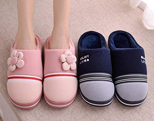 FARALY Le Nuove Pantofole Del Cotone Di Inverno Coppiano Le Pantofole Domestiche Calde Del Pantofole Blue