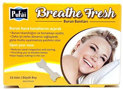 Nasenstreifen. 10 Stück in einer Box, groß (66 * 19 mm) atmen frische Nasenstreifen von Pufai.