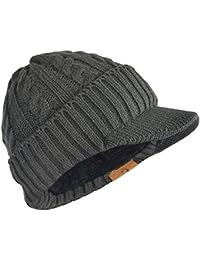 FORBUSITE Bonnet Visiere Homme, Casquette Visière à Doublure Polaire Chapeau -Tricot-Long- 2e520ea5b75
