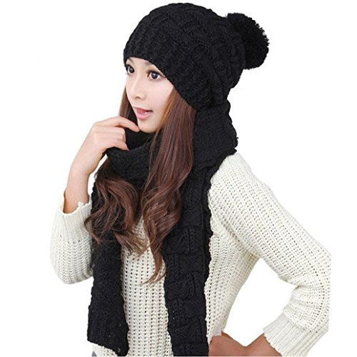 KanLin 1Set Women Warm Woolen Knit Hood Scarf Shawl Caps Hats Suit (Black) (Female Body Tasche Kostüm)