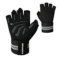 KAIWENDE Men Or Women Gym Workout Gloves with Long Wrist Wrap Support, Padded, Ventilated,Sweat Absorbing, Anti-Slip and Anti-Shock,Wear Resistant for Exercise,Weight Lifting,Running-W01 (Black, M)