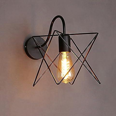Rétro Industrie Laminette murale à grille creuse en fer Applique murale à gril Restaurant Cafe Corridor Edison Lighting Lampe de table (3 styles optionnel) ( conception : A )