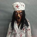 ZUAN Travestimento di Halloween/Latex sanguinosa sanguinante Femminile Mascherina del Fantasma/Capelli Lunghi Santo Medico Infermiere Orrore Maschera Maschere spaventose (Color : C)