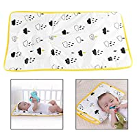 Xrten 2-in-1 Breathable Changing Urine Mat Cover, Mattress Changing Diaper Pad with Anti-Flat Head and Neck Support Pillow (Yellow)